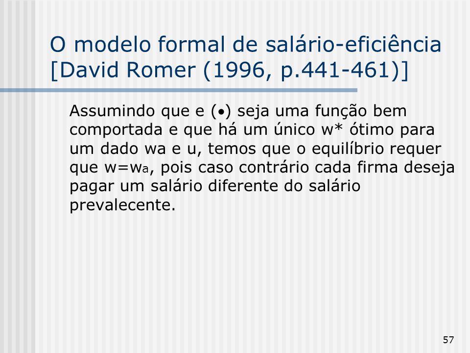 O modelo formal de salário-eficiência [David Romer (1996, p.441-461)]
